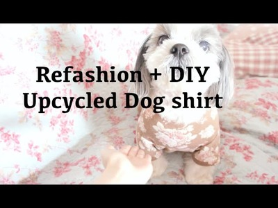 Sewing + Refashion Upcycle Old floral Sweatshirt to Dog Shirt