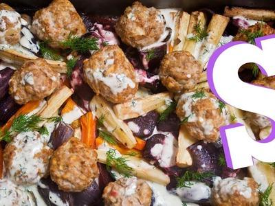 Turkey Meatball Traybake Recipe - SORTED
