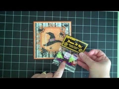 Happy Hauntings Cricut Cartridge Witches Hat Card with lots of Spiders