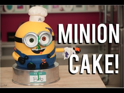 How To Make a BOB THE MINION. CAKE! Chocolate cakes, ganache, buttercream and fondant!!