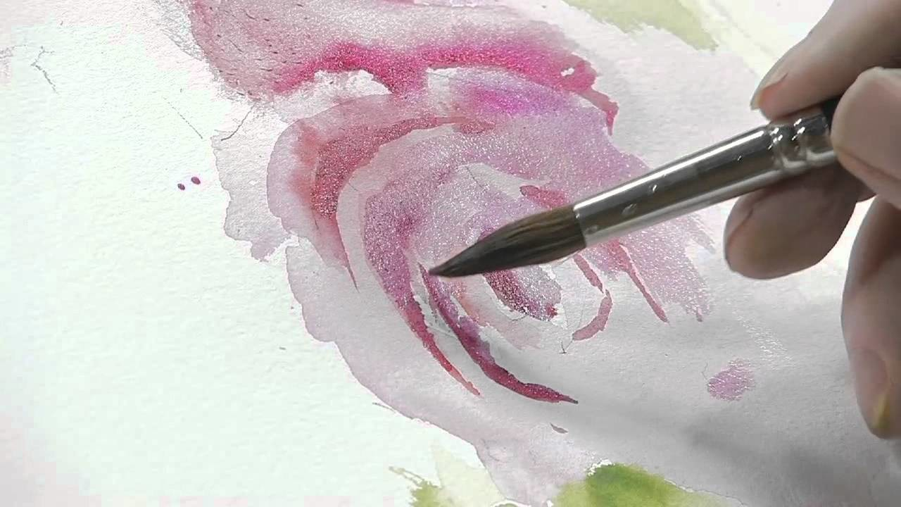 How to Paint a Red Flower with Green Leaves Using Watercolors
