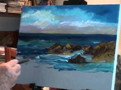 Paint Ocean with Rocks - Marge Kinney Art - Part #1 of 3- Seascape