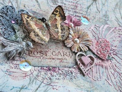 Scraps of Elegance April 2015 Kit ~ Unbelievable Love Layout - BoBunny Garden Journal, Prima Flowers