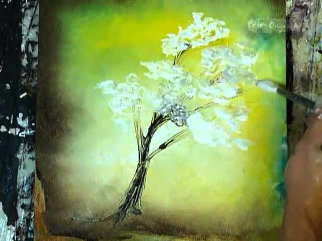 """Abstract Art Painting Techniques Acrylics on Canvas by Peter Dranisin """"White Tree"""""""