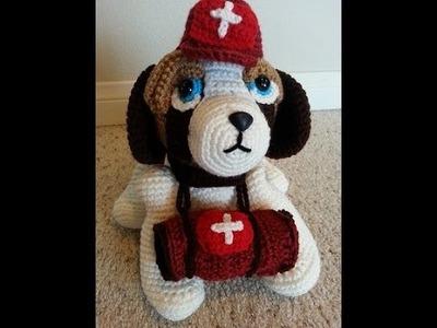 Crochet Saint Bernard Amigurumi Medical Rescue Dog beginning of Part 2 of 2 DIY tutorial