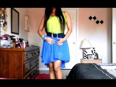 DIY high low skirt & neon top.