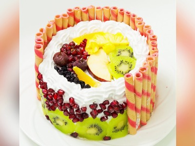 Eggless Fresh Fruit Cake. Fruit Pastry Recipe - Pressure Cooker Cake | Eggless Baking Without Oven