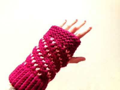 How to Loom Knit Bicolor Mini Hearts Spiral Fingerless Mittens (DIY Tutorial)