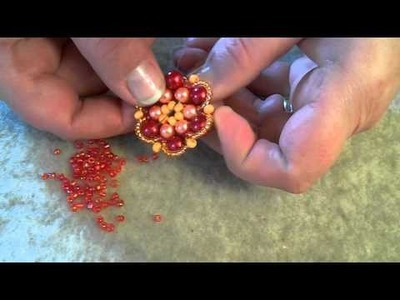 How to make a beaded flower pendant Part 3