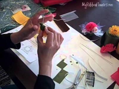 How to make Ribbon Chrysanthemum Flower, Part 2 of 2