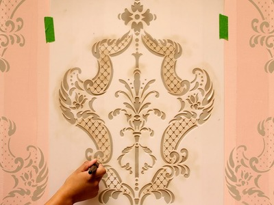 How to Stencil Tutorial: Paint an Accent Wall with Ombre Stripes & Damask Wall Stencils