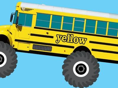 Monster Truck School Buses Teaching Colors & Crushing Words - Learning Basic Colours Video for Kids