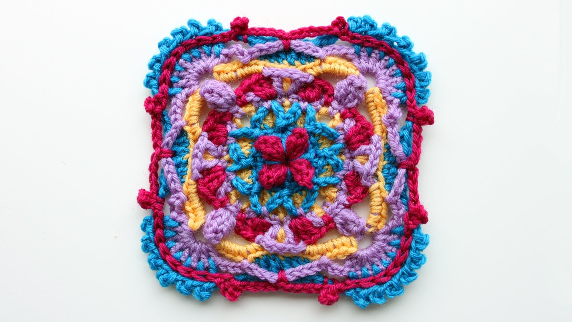 Colorful overlay crochet square tutorial, part 1 of 3