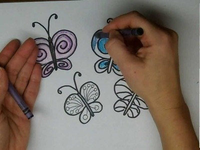 Drawing: How To Draw Cartoon Butterflies - Step by Step Easy drawing lesson for kids