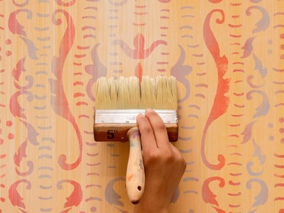 How to Paint & Stencil DIY Tutorial: Colorful Rustic Italian Stenciled Wall Finishing Technique