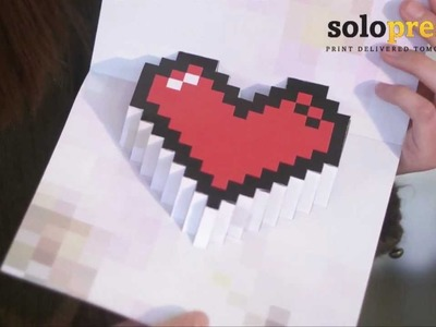 Valentine's Day 3D Pixel Heart Love Cards - learn how to make them at home!