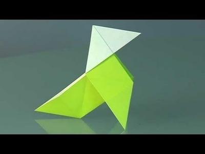 A paper bird, pajarita. Origami step by step