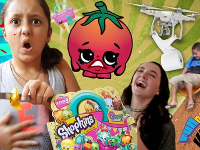 Bloody Shopkins | Toilet Paper Mess | Dirt Sledding & Our BROKEN Drone! (FUNnel Vision Family Vlog)