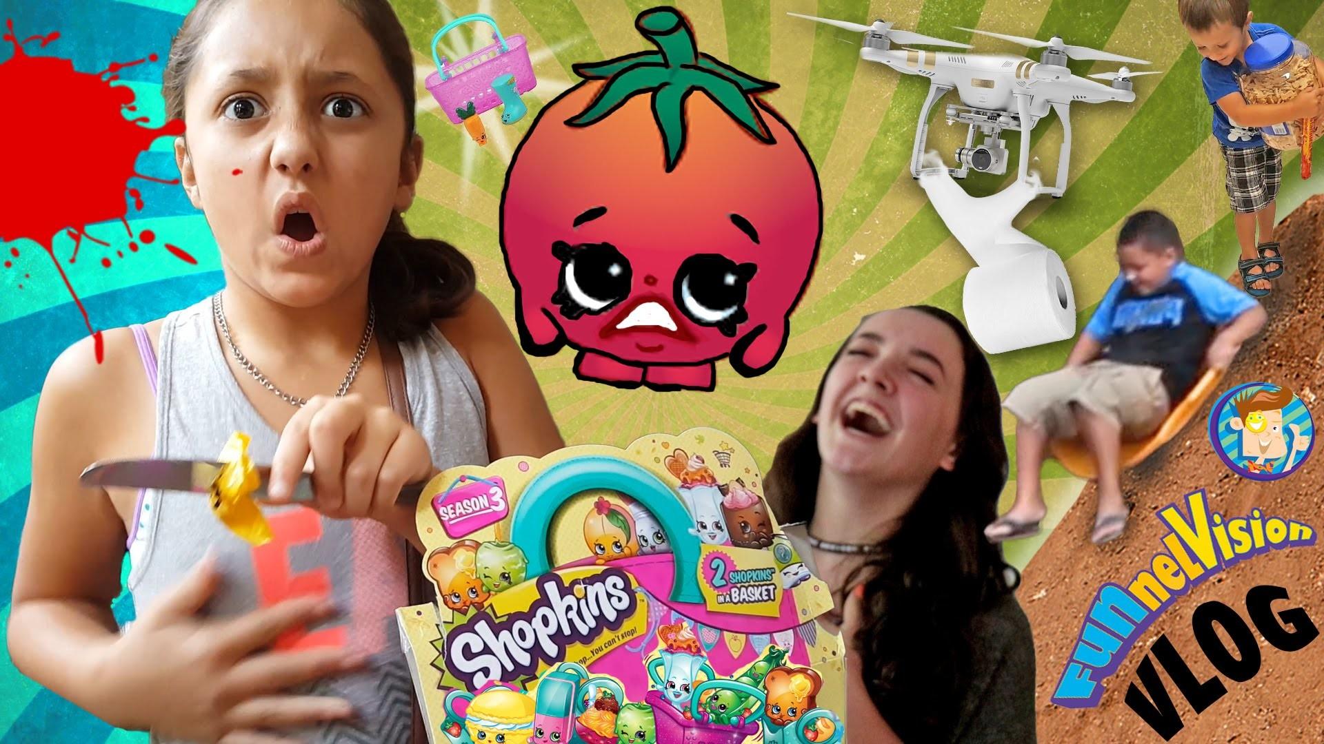 Bloody Shopkins | Toilet Paper Mess | Dirt Sledding & Our BROKEN Drone! (FUNnel Vision Family Vlog)