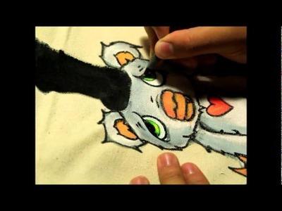 Cartoon painting on canavas bag 2BLOK ONE.wmv