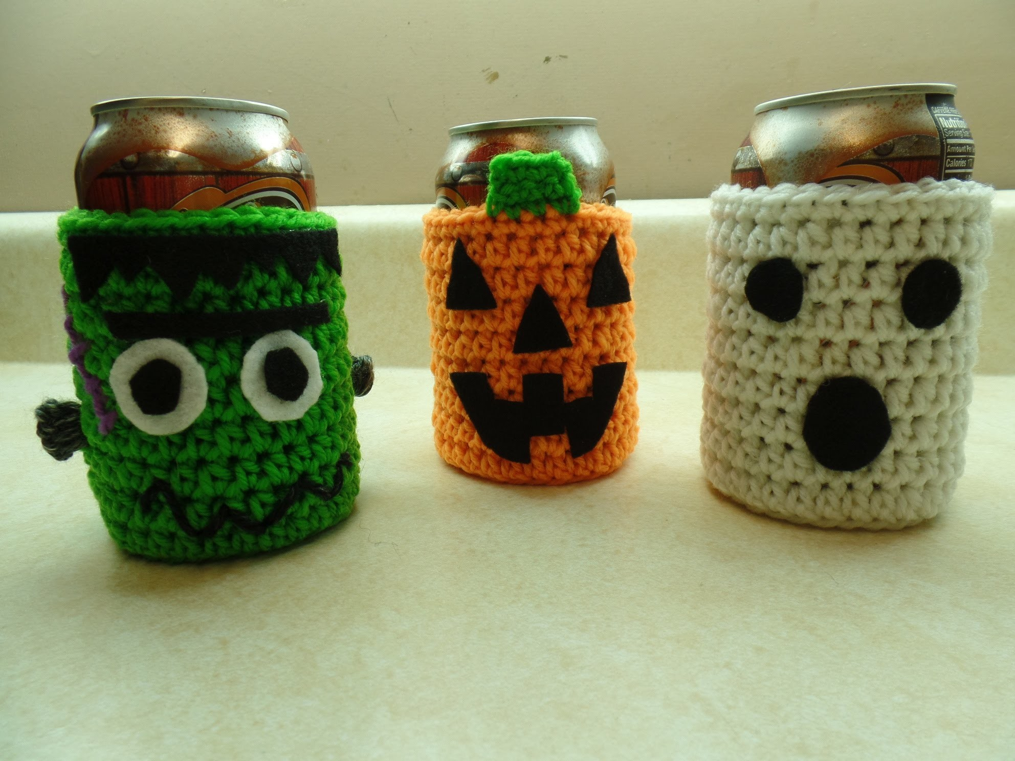 #Crochet Easy Halloween Can Cup Holder Cozy Great Fun Craft For Kids to Help #TUTORIAL