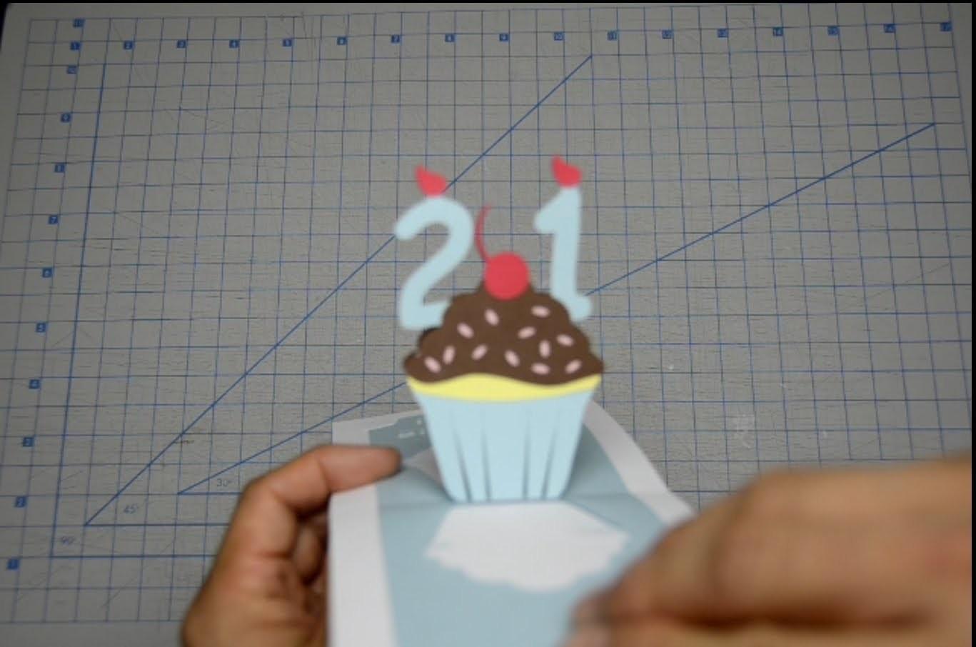 Detailed Birthday Cupcake Pop Up Card Tutorial