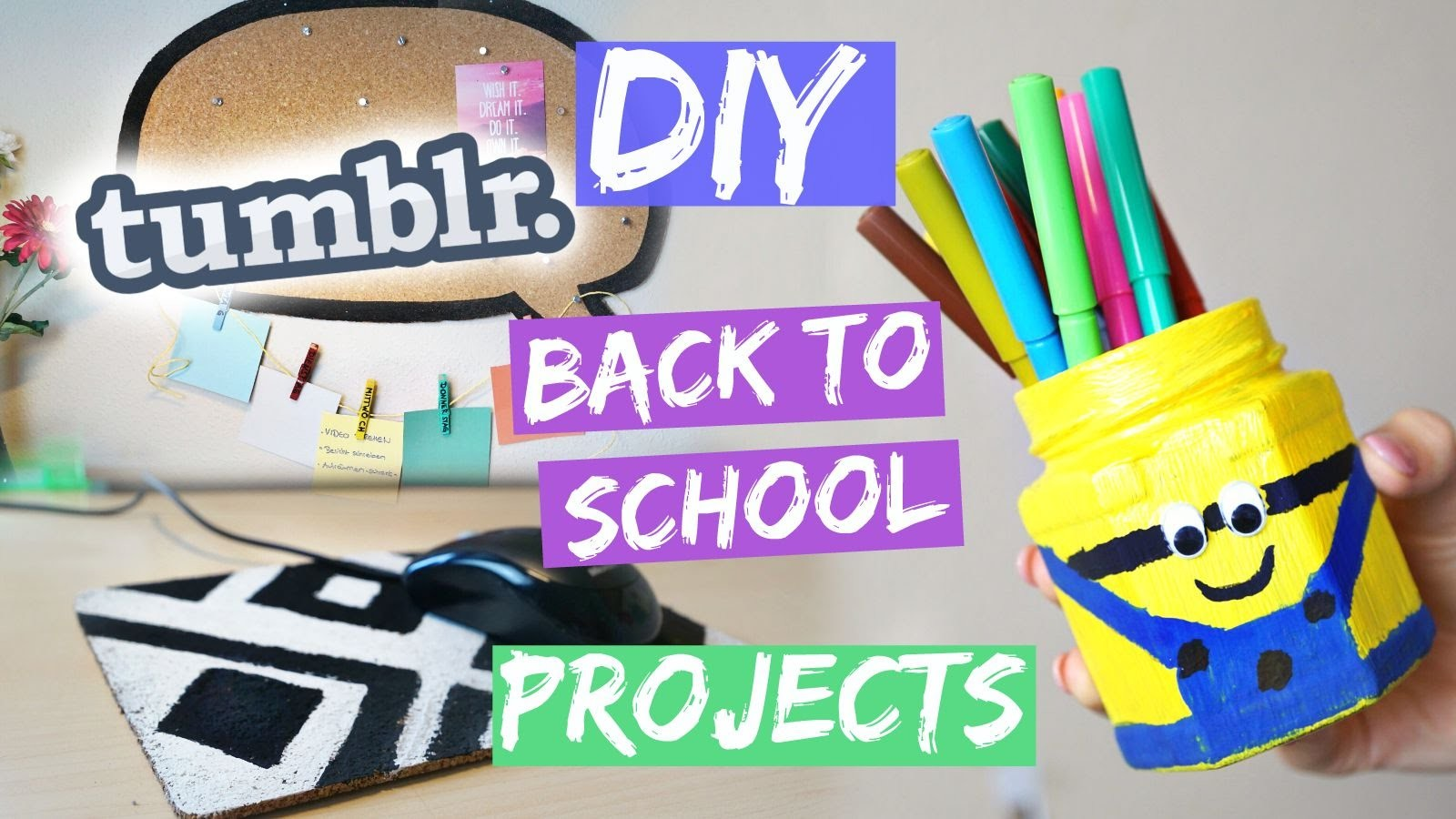DIY BACK TO SCHOOL PROJECTS - Minion Pen Holder, Mousepad & MEHR!