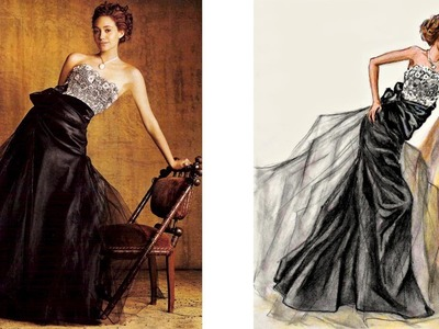 Emmy Rossum  Dress Shooting for Marie Claire (May 2006): Fashion Illustration