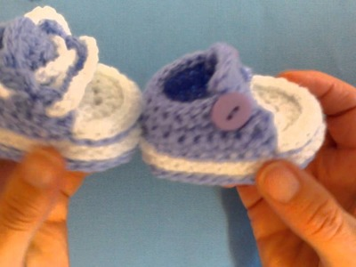 How to crochet my easy petite converse style slippers part 5 laces and buttons