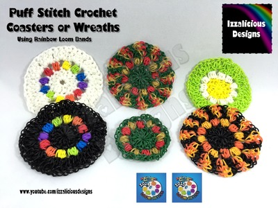 Loomigurumi Crochet Coaster | Wreath | Decoration using Rainbow Loom Bands
