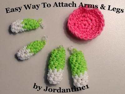 New Easy Way To Attach Arms & Legs To Loomigurumi. Amigurumi Creations - Rainbow Loom - Hook Only