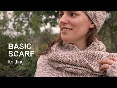 Tutorial Basic Knitting Scarf in English
