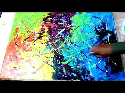 Abstract art painting technique with Acrylic
