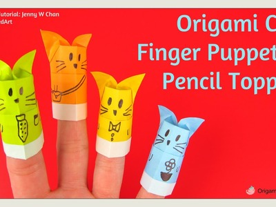 Back to School Craft - Origami Cat Pencil Topper - Origami Finger Puppet  - Cat Paper Crafts