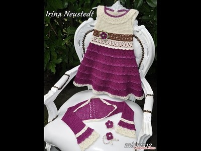 Crochet dress  How to crochet an easy shell stitch baby. girl's dress for beginners 5