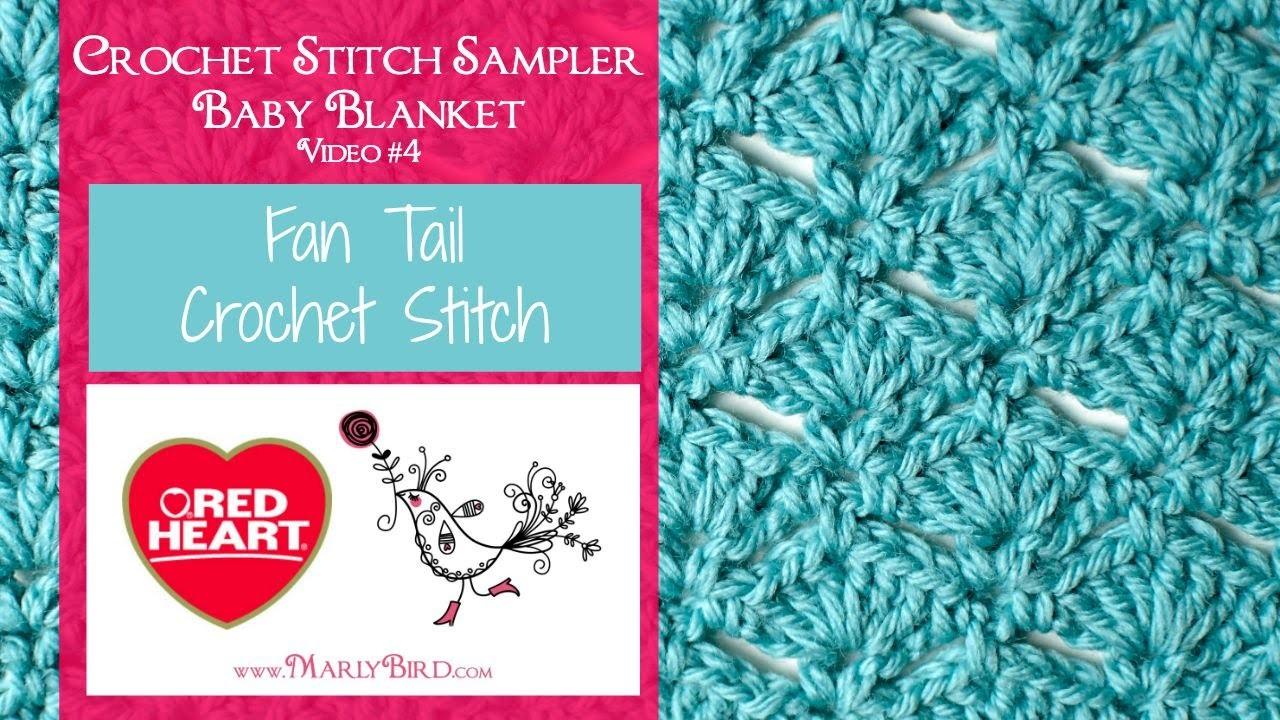Fan Tail Stitch (Crochet Stitch Sampler Baby Blanket Video #4)
