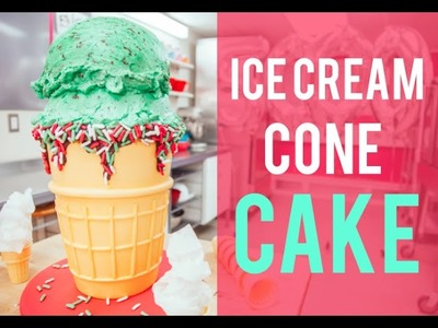 How To Make A Mint Chocolate Chip ICE CREAM CONE. CAKE!