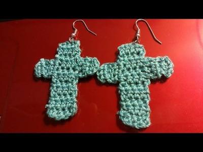 How To - Making An Easy Crochet Cross-Cross Earrings