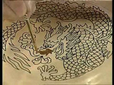 Painting Dragon on Glass Plate with Pebeo Paints