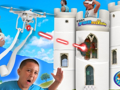 Toilet Paper Fort Attacked by DRONE!  (2-Story FUNnel Vision Challenge Mess)