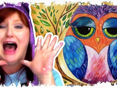 Colorful Owl painting lesson for beginners a fun online easy how to tutorial Hart Party