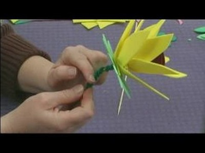 Foam Flower Crafts for Kids : Making a Stem for Sunflower Crafts