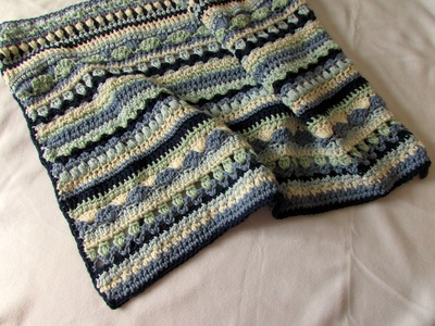 How to crochet a pretty mixed stripe blanket. afghan. throw tutorial