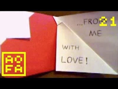 How to make an Origami Heart Card V (Valentine's Day) . for all (21)
