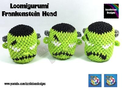 Loomigurumi Frankenstein Head for Halloween - hook only - amigurumi with Rainbow Loom Bands