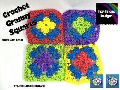 Rainbow Loom Crochet Granny Square using loom bands