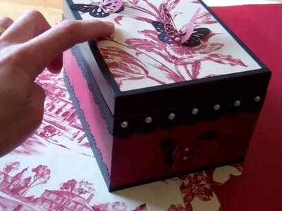 Cigar box covered with wall paper