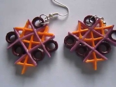 Handmade Jewelry - Paper Quilling TicTacToe Earrings  (Not Tutorial)