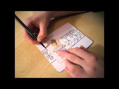 Making simple Sarah Kay card with drawing TUTORIAL  by Marlen