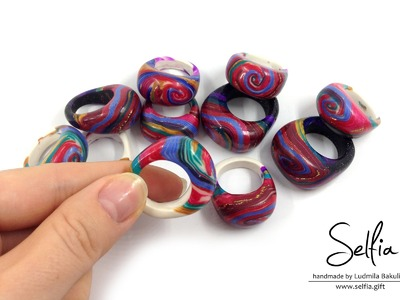 (Part 2 - English) Video tutorial: Bright ring from polymer clay with a hole cut outs !